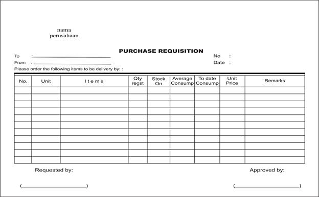 Contoh Dokumen Purchase Requisition (PR)