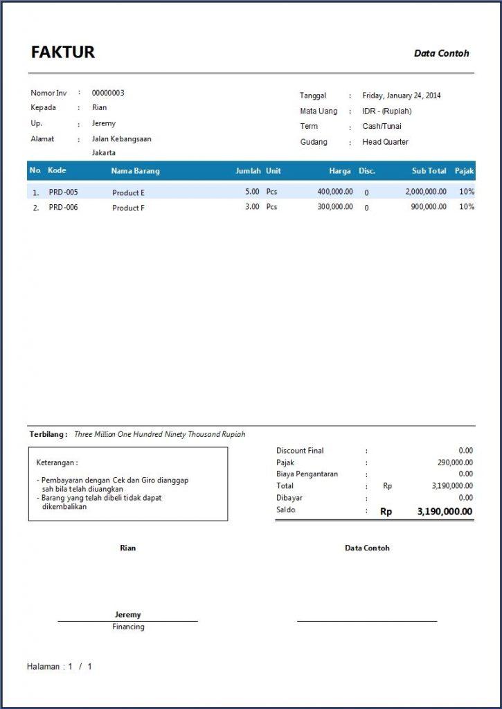 invoice pelanggan