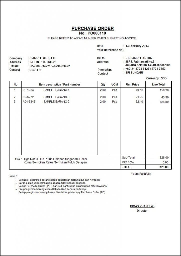 contoh purchasing order