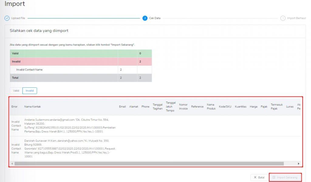 Import data invalid tagihan penjualan Kledo