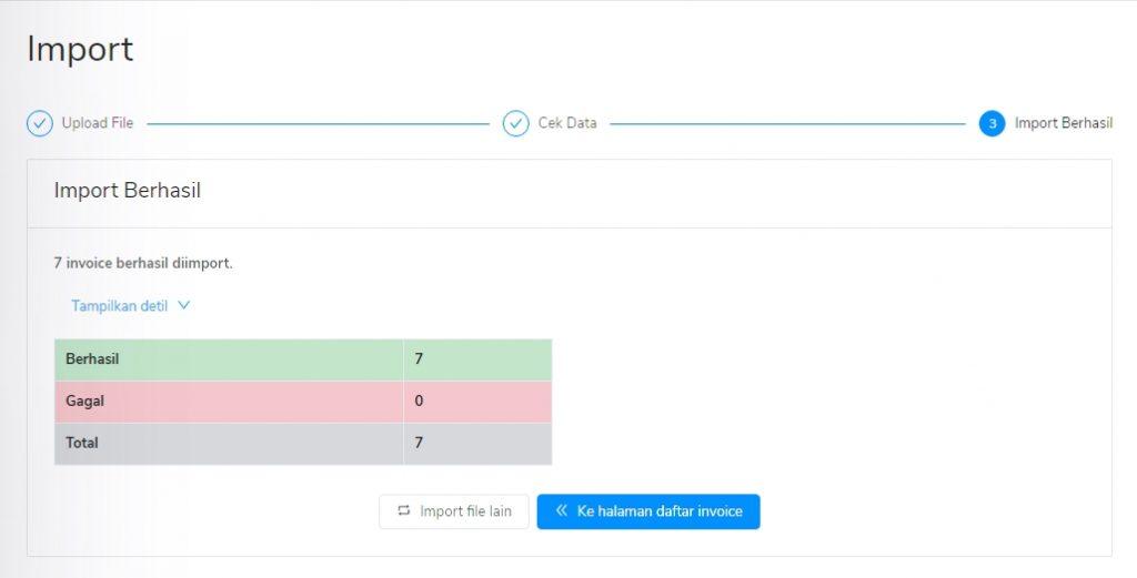 Import data sukses tagihan penjualan Kledo