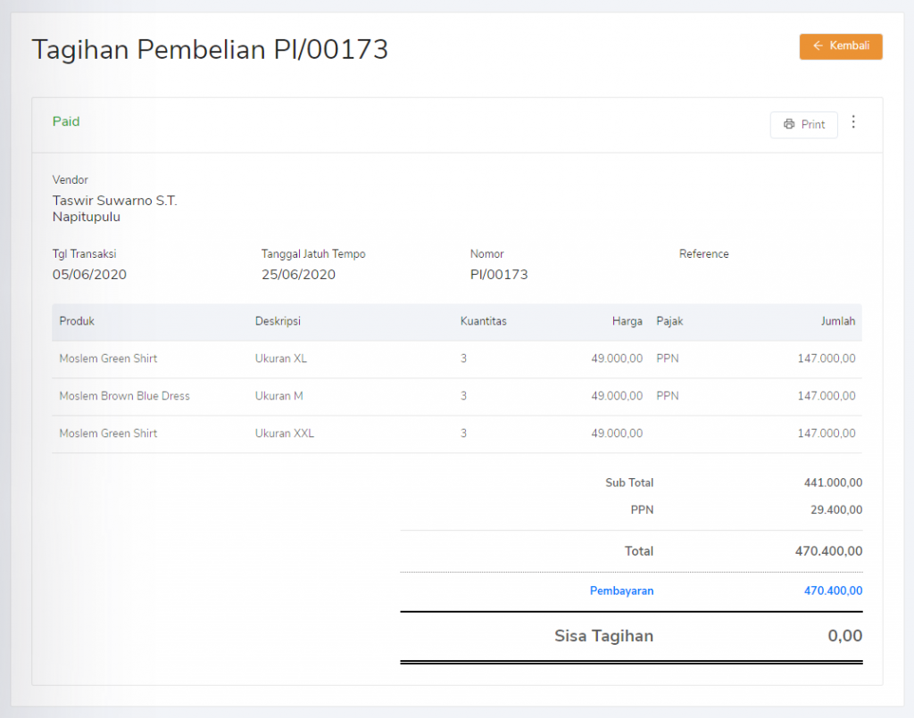Purchase invoice terintegrasi dengan purchase payment kas & bank Kledo