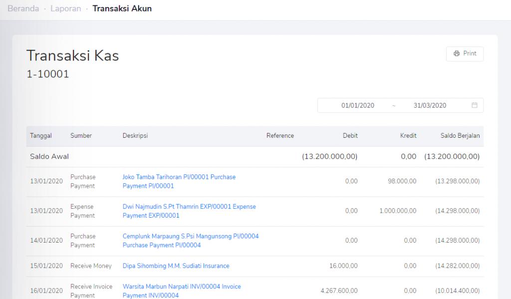 Detail transaksi laporan ringkasan bank