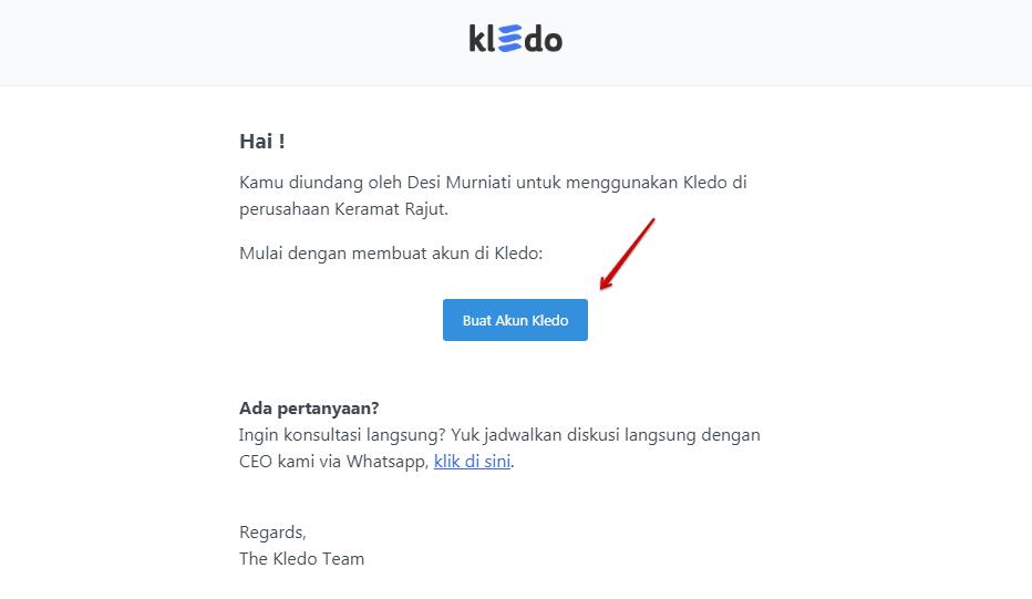 Email masuk undangan pengguna Kledo