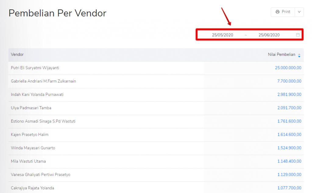 Filter tanggal pembelian per vendor Kledo