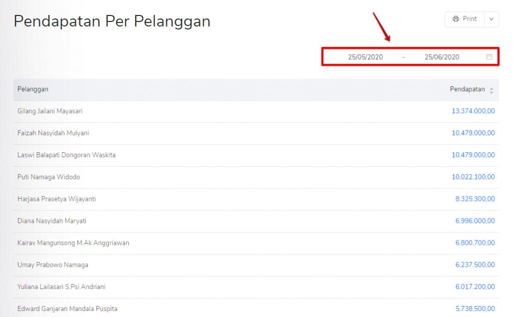 Filter tanggal pendapatan per pelanggan