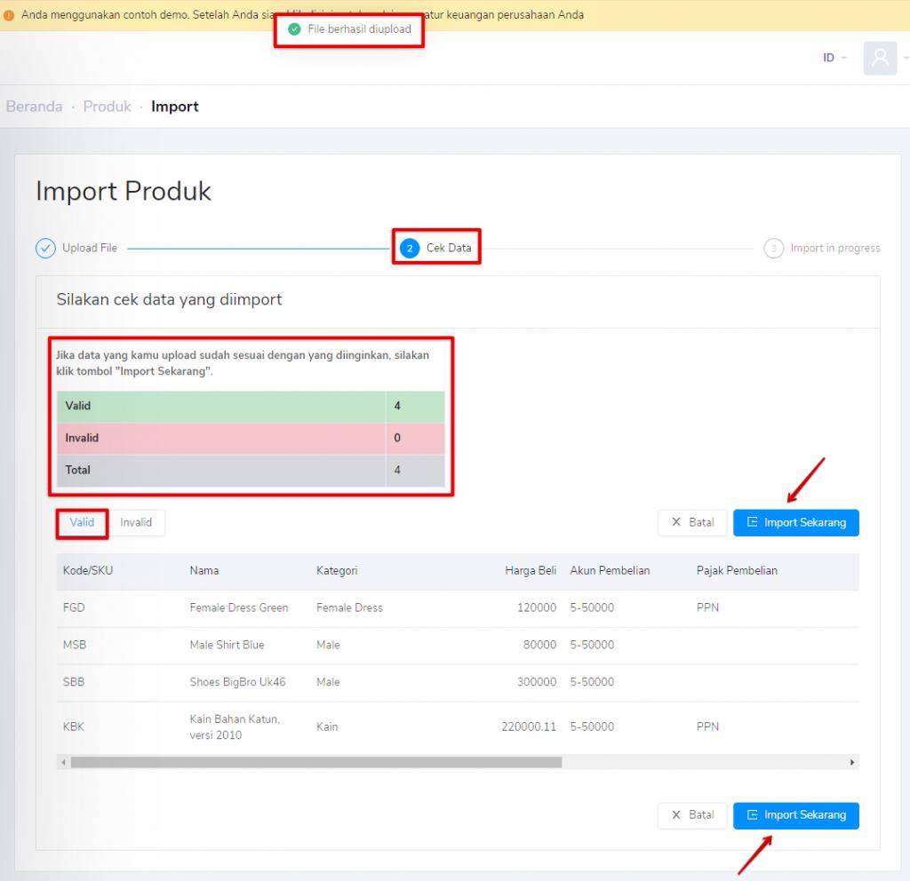 Import data produk valid