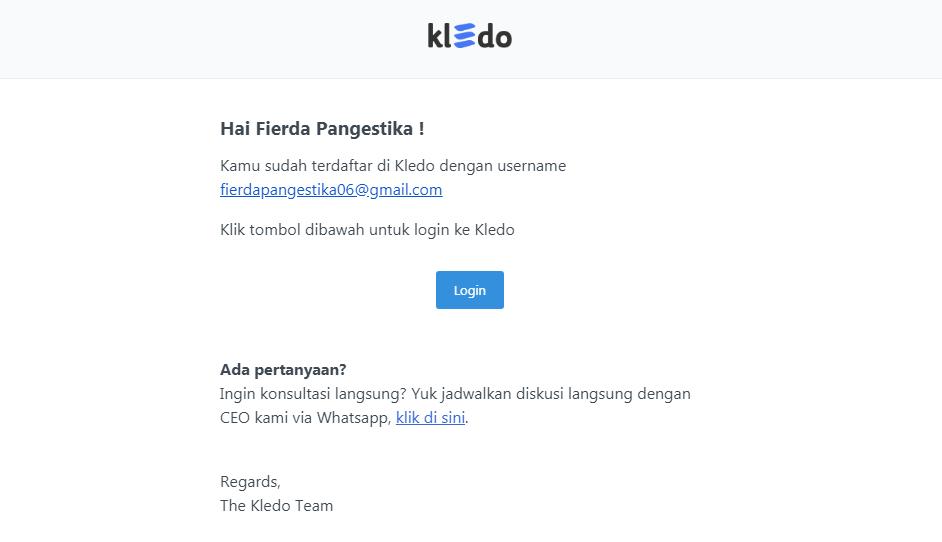 Email pemberitahuan pengguna aktif Kledo