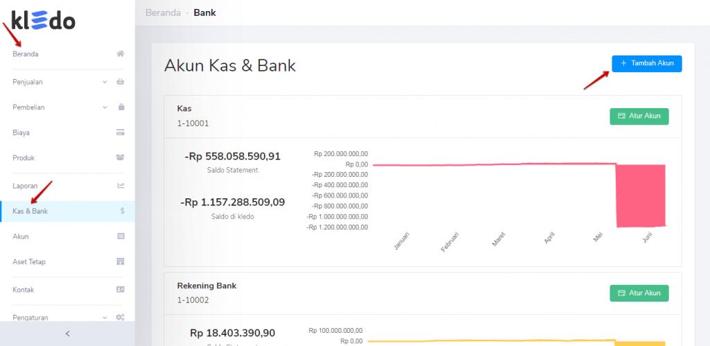 Tambah akun kas dan bank Kledo