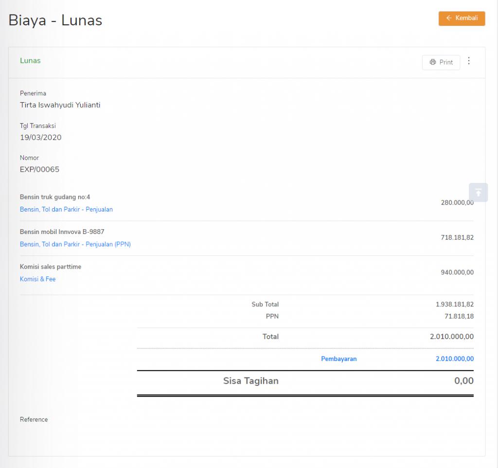 Transaksi biaya dari laporan biaya per kontak