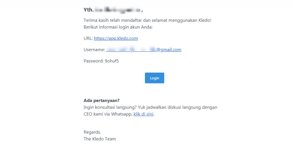 Email masuk Kledo