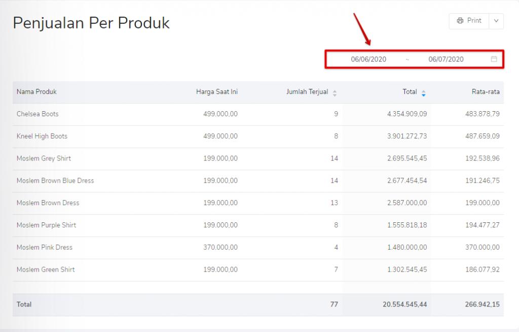 Filter tanggal penjualan per produk