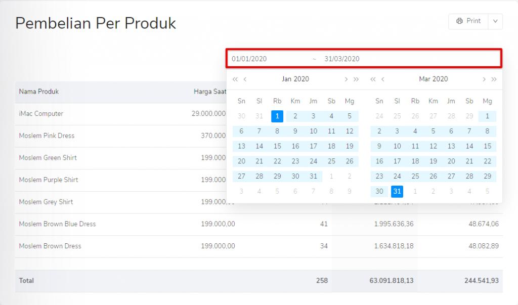 Masukkan periode laporan pembelian per produk