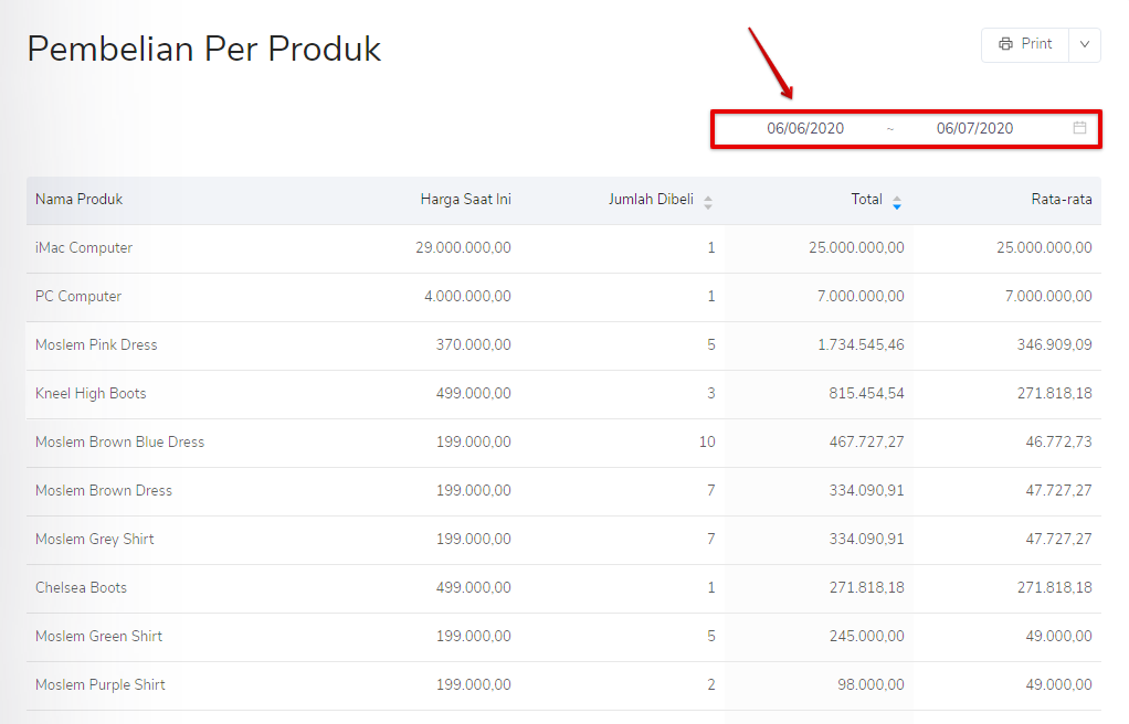 Filter periode pembelian per produk Kledo