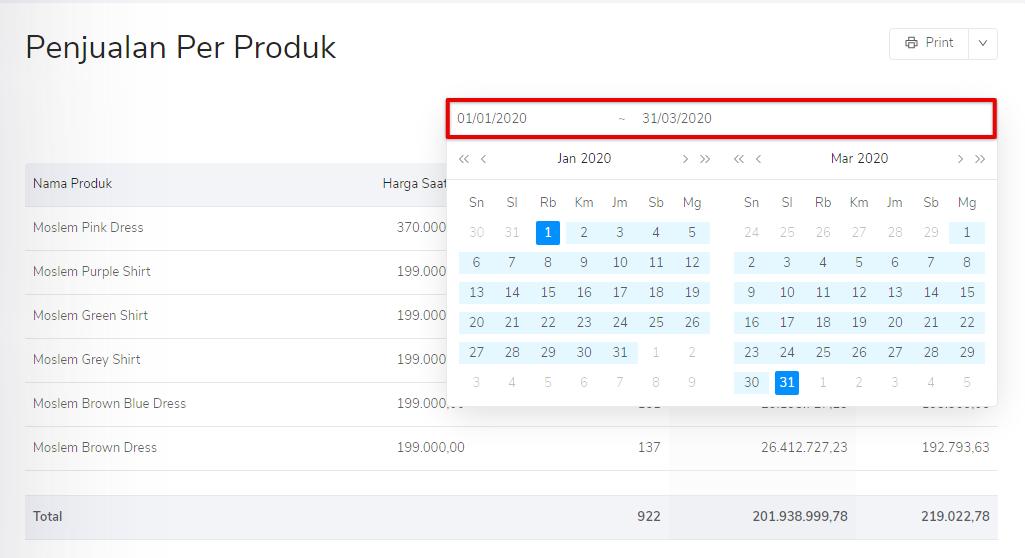Pilih tanggal periode penjualan per produk Kledo