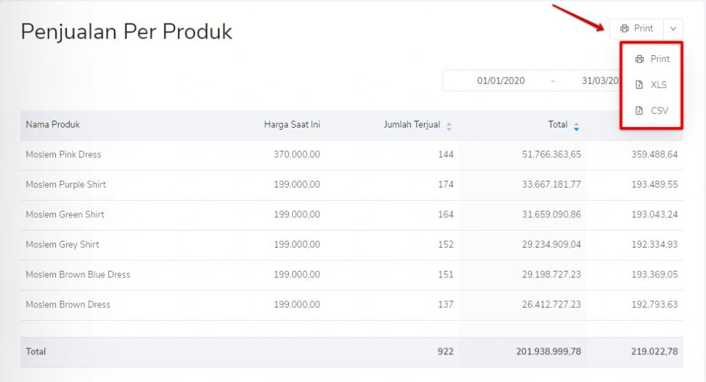 Print laporan penjualan per produk Kledo