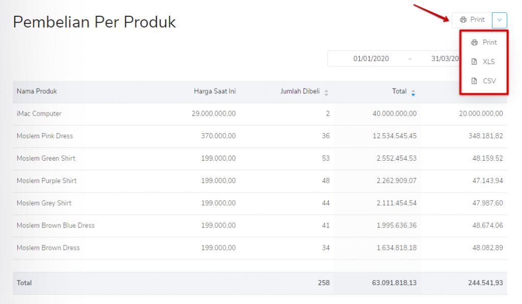 Print laporan pembelian per produk Kledo