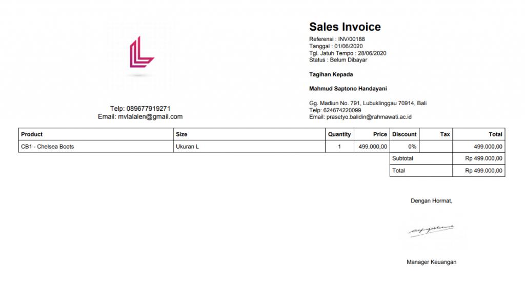 Hasil atur layout invoice Kledo