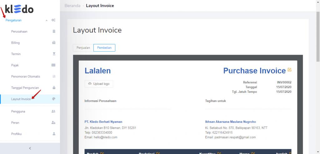 Pengaturan layout invoice Kledo