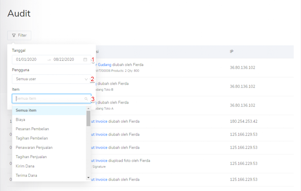 Filter menu Audit di Pengaturan Kledo