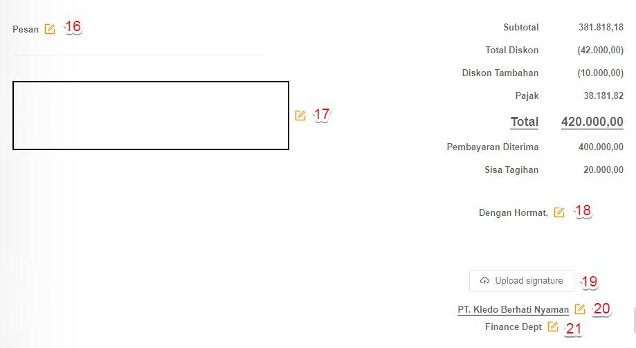 Ubah kolom pesan dan otoritas pada layout invoice Kledo
