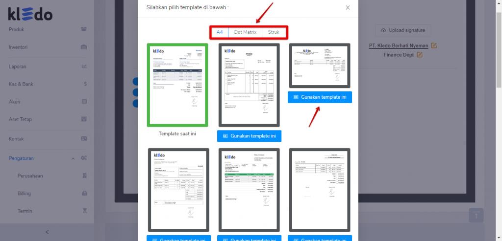Pilih template invoice yang dikehendaki