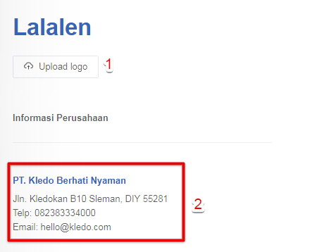 Upload logo invoice jual Kledo