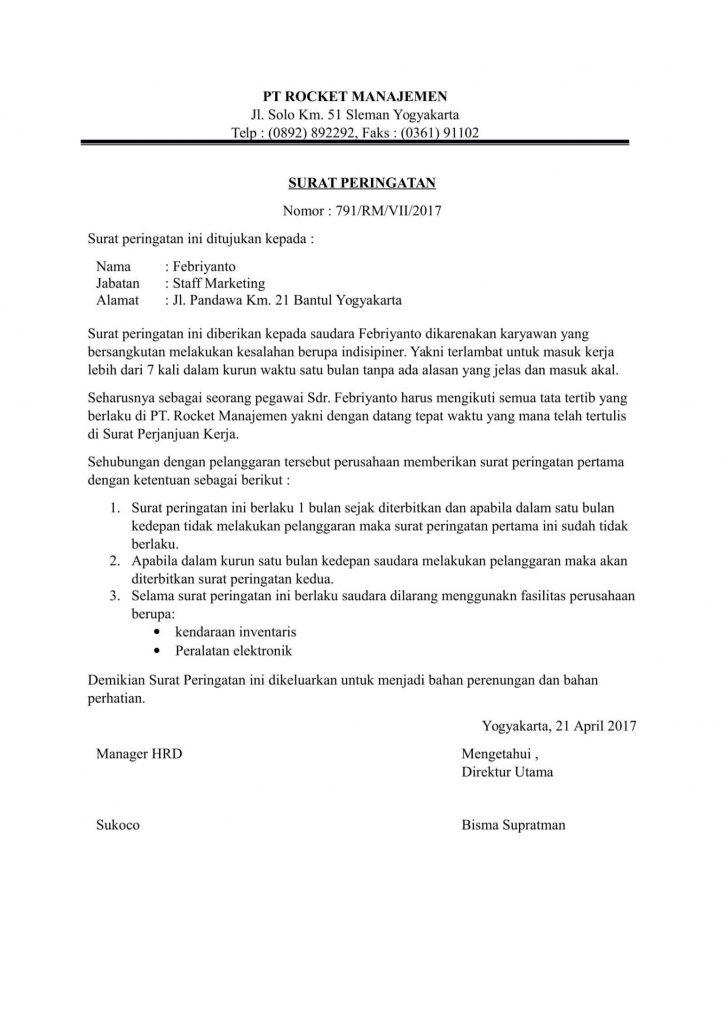 contoh surat peringatan