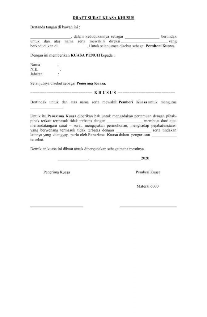 surat kuasa khusus