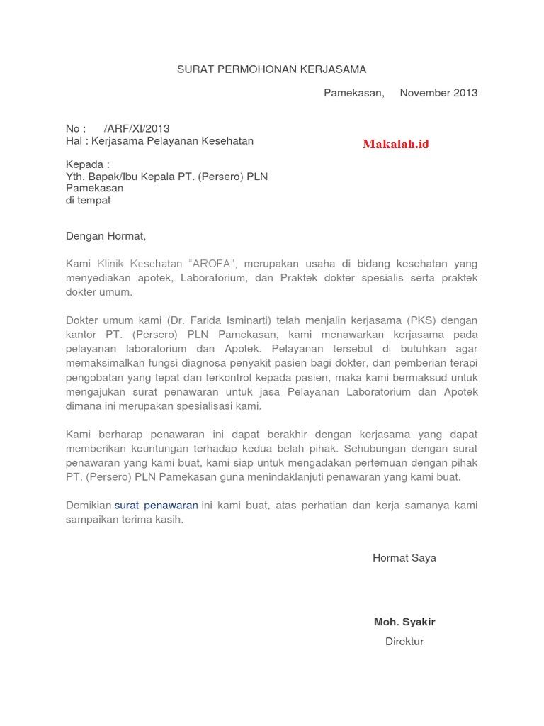 contoh surat penawaran kerjasama
