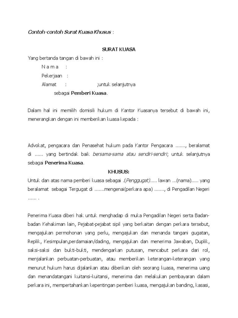 contoh surat kuasa khusus