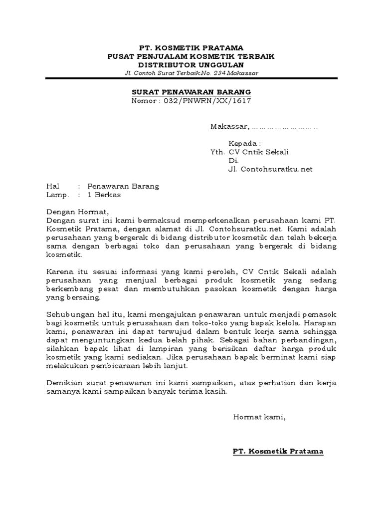 contoh surat niaga penawaran