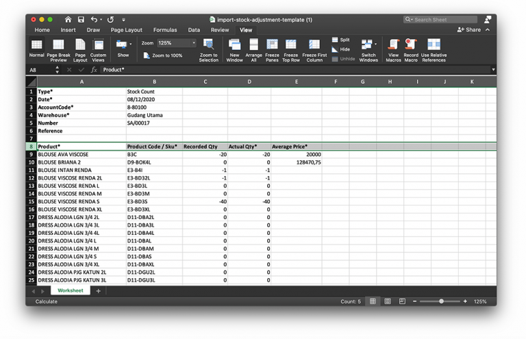 import excel inventory